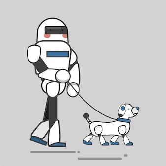 ロボットと犬