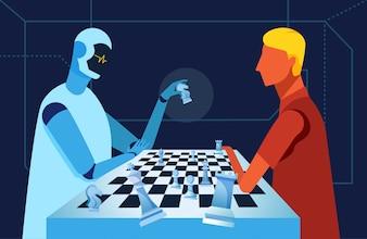 ロボットと人間がチェスをしている