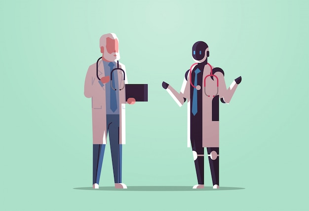 Робот и человеческие врачи обсуждают во время встречи роботизированный персонаж против человека со стетоскопом, стоящего вместе здравоохранение технология искусственного интеллекта концепция плоский полная длина горизонтальный