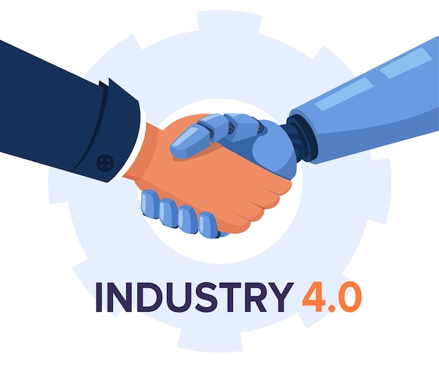 Робот и человеческая рука, держащая рукопожатие, индустрия 4.0 и иллюстрация искусственного интеллекта