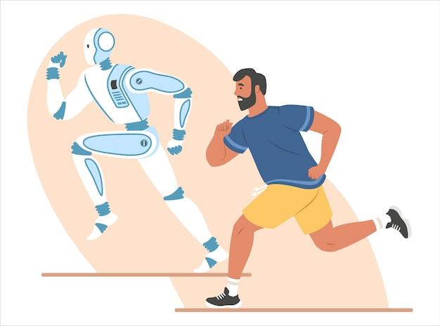 ロボットと人間のランニングマラソンレース、フラットベクトルイラスト。ロボット機械の優勝大会。人工知能と人間。