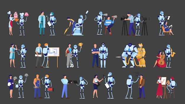 로봇과 다른 작업 세트에있는 사람들. 비즈니스 및 요리 직업. 미래 기술, 로봇 산업. 삽화