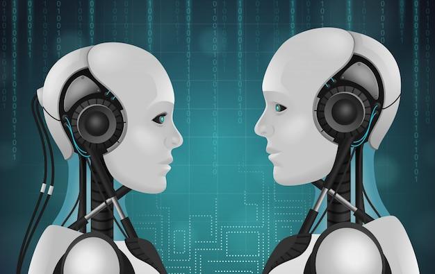 Robot android realistica composizione 3d con teste di personaggi antropomorfi con fili e facce di plastica