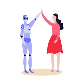 Robot android and woman greeting friendly each other and giving five  cartoon  illustration  on white background. artificial intelligence technology.