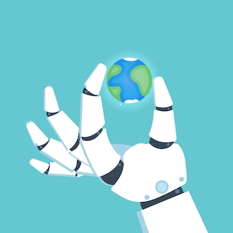Robot arm, hand holding planet earth. vector illustration.
