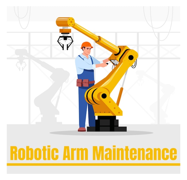 Robot arm maintenance social media post mockup. automated hand repair. advertising web banner  template. social media booster, content layout. promotion poster, print ads with  illustration