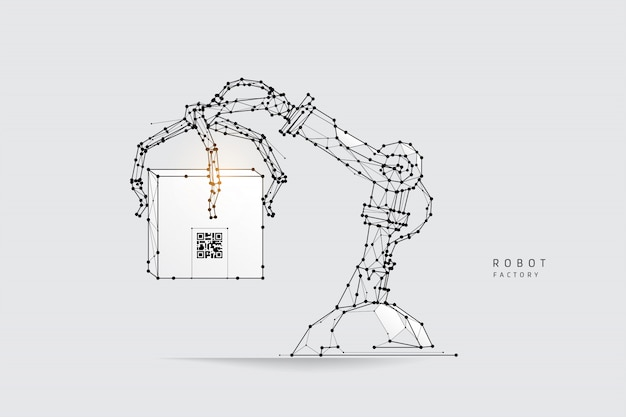 Robot arm in polygonal wireframe style