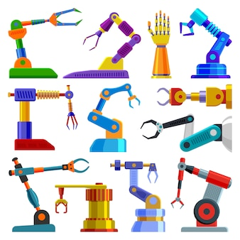Robot arm  robotic machine hand technology equipment illustration set of robotechnic engineer character in industry  on white