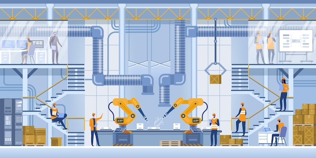 Robot arms machine in intelligent factory industrial on monitoring