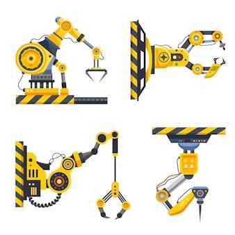 로봇 팔 세트 또는 공장 기계 손. 기계 산업. 그랩 클로 핸즈가있는 로봇 암, 로봇 공학 및 자동화 제조, 산업 기술 및 유압 기계