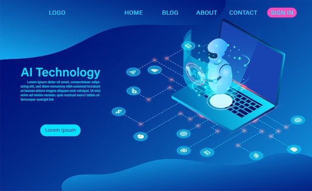 Robot artificial intelligence technology in software computer landing page Premium Vector