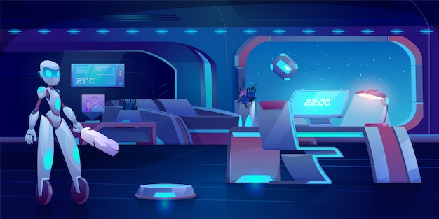 Robot assistant, automatic vacuum and window cleaner in futuristic bedroom with neon glowing furniture at night.