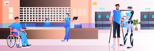 Robot assisting disabled man at hospital reception modern clinic hall interior healthcare artificial intelligence technology concept horizontal full length
