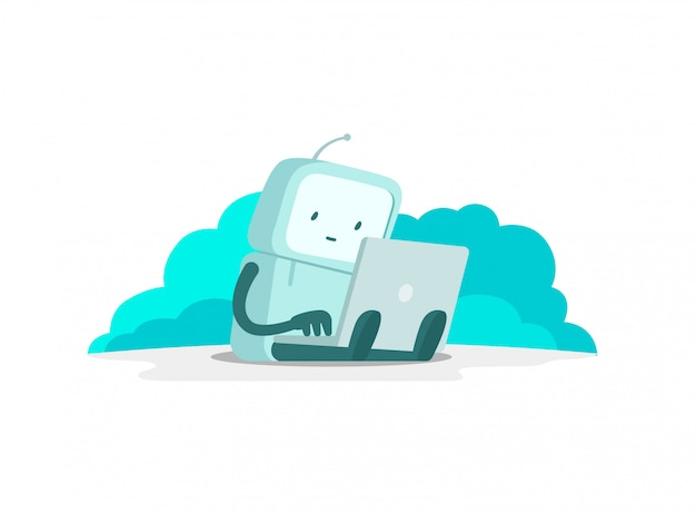 The robot astronaut man sits with laptop. search on the internet. internet surfing. error page not found. flat color   illustration