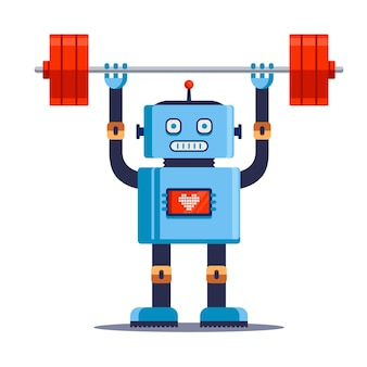 Robot athlete lifts weights.   illustration isolated on white background.