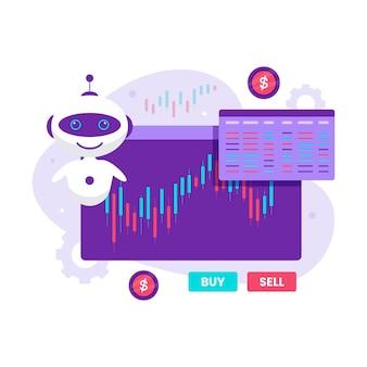 Концепция дизайна иллюстрации автоматической фондовой торговли робота. иллюстрация для веб-сайтов, целевых страниц, мобильных приложений, плакатов и баннеров.