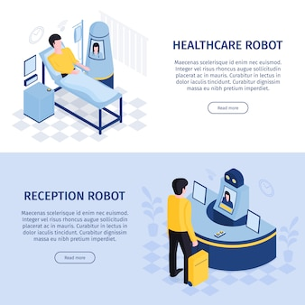 Robot automation horizontal banners set with receptionist and doctor robotic interfaces with people text and buttons vector illustration