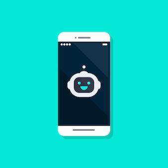 Robot avatar on smartphone. vector illustration