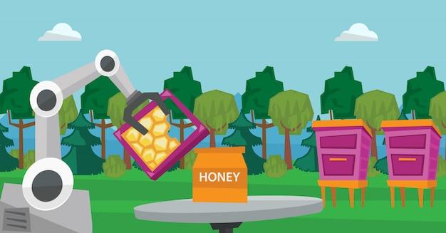 Робот пчеловод собирает мёд из улья.