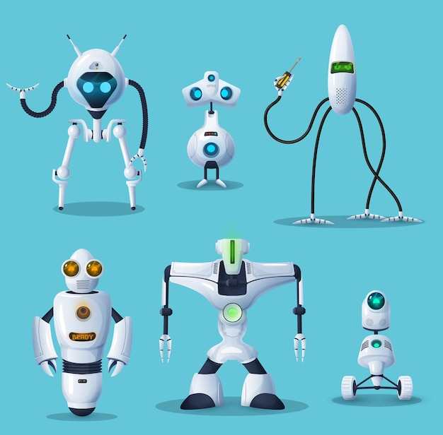 Robot, bot, android and cyborg cartoon characters of ai or artificial intelligence