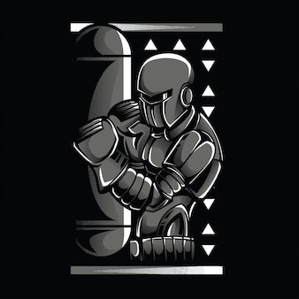 Robot boxing black and white illustration