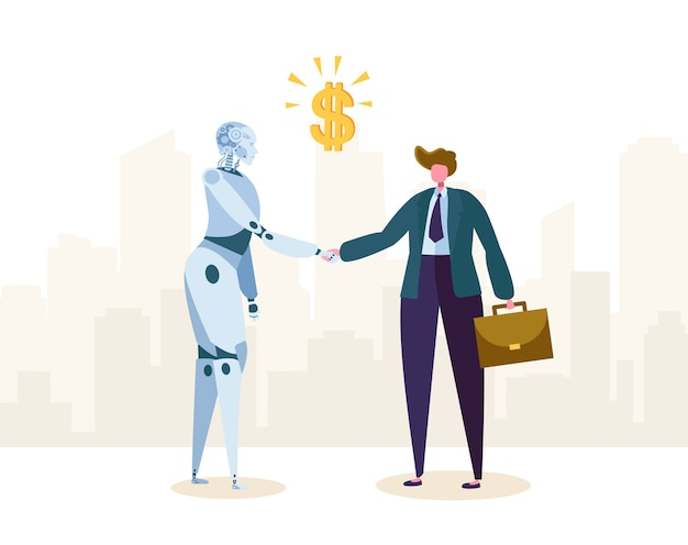 Robot and businessman make agreement about partnership by handshake