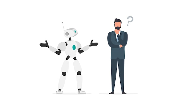 The robot cannot find a solution. the robot makes a helpless gesture. the businessman pondered. artificial intelligence failure concept. isolated. vector.