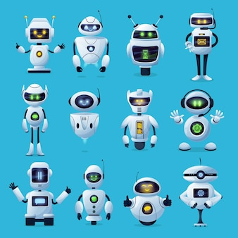 Robot cartoon characters with ai or artificial intelligence robotic machines Premium Vector