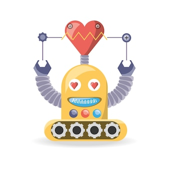 Robot cartoon in love