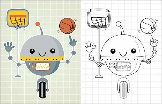 Robot cartoon playing basketball