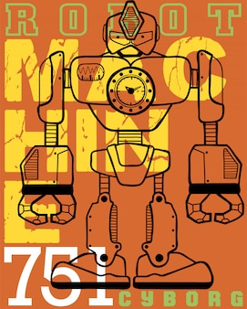 Robot cartoon with typography background
