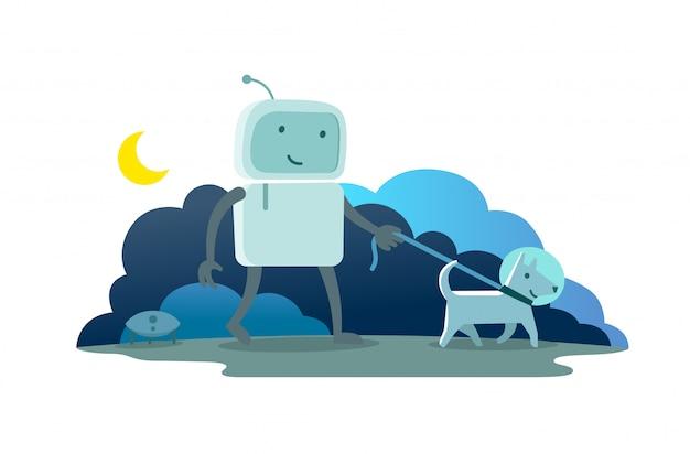 ロボットキャラクターの宇宙飛行士の男は、ひもをつないで犬と一緒に夜月夜を歩きます。犬が先を走ります。フラットカラーイラスト