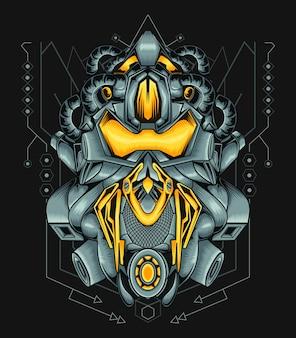 Робот персонаж атакующий дизайн сакральная геометрия