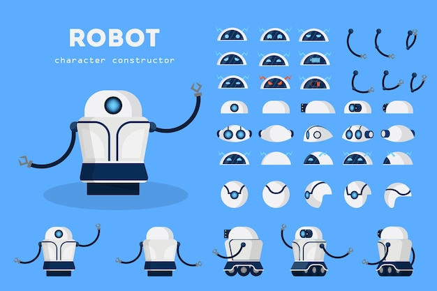 さまざまなビューのアニメーション用ロボットキャラクター