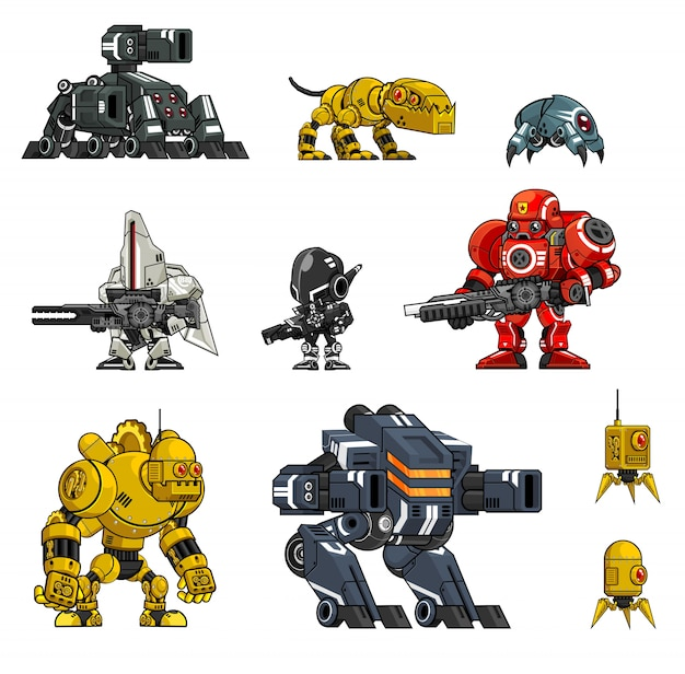 Robot character illustrations