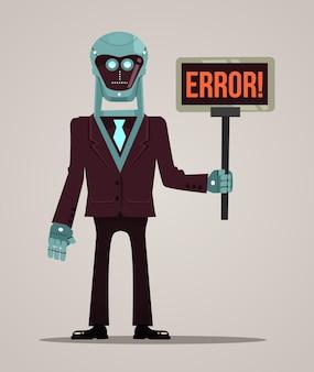 Robot character mascot hold banner error