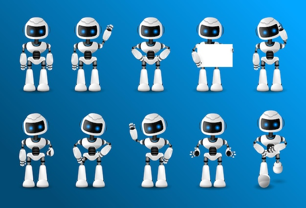 Robot character set for the animation with various views, hairstyle, emotion, pose and gesture. ¡