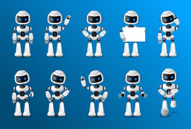 さまざまなビュー、髪型、感情、ポーズ、ジェスチャーを備えたアニメーション用のロボット文字セット。 ¡