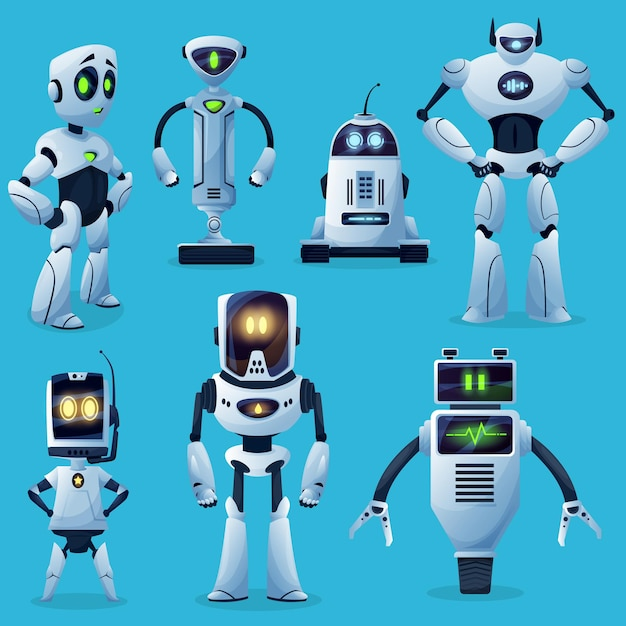 Robot characters, cartoon toys and future cyborgs