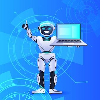 Робот-помощник чат-бота, использующий ноутбук современный роботизированный персонаж