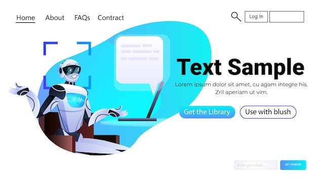 Robot chatbot assistant with speech bubble detection and identification facial recognition system