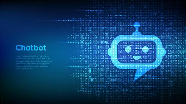 이진 코드로 만든 로봇 챗봇 헤드 아이콘 기호입니다. 챗봇 어시스턴트 애플리케이션. ai 개념입니다. 디지털 바이너리 데이터 및 스트리밍 디지털 코드. 숫자가 1.0인 매트릭스 배경. 벡터 일러스트 레이 션.