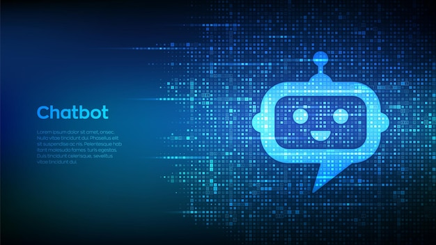 Robot chatbot head icon sign made with binary code. chatbot assistant application. ai concept. digital binary data and streaming digital code. matrix background with digits 1.0. vector illustration.