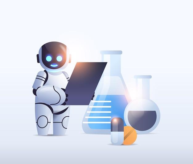 Робот-химик с пробирками проводит химический эксперимент в лаборатории микробиология технология искусственного интеллекта