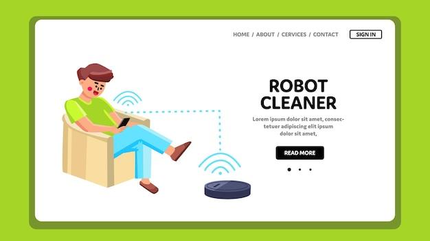 전화 앱 벡터와 로봇 청소기 남자 제어. 스마트 폰 응용 프로그램과 함께 진공 로봇 청소기 무선 제어 녀석. 문자 사용 전자 디지털 기술 웹 플랫 만화 일러스트 레이 션