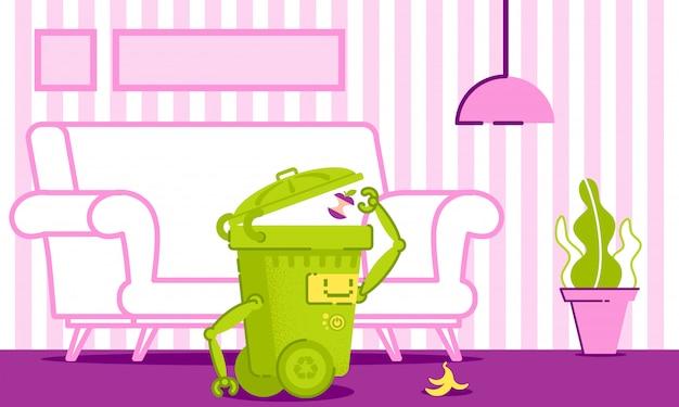 Robot cleans up trash in house vector illustration