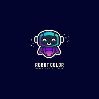 Robot color gradient colorful logo template