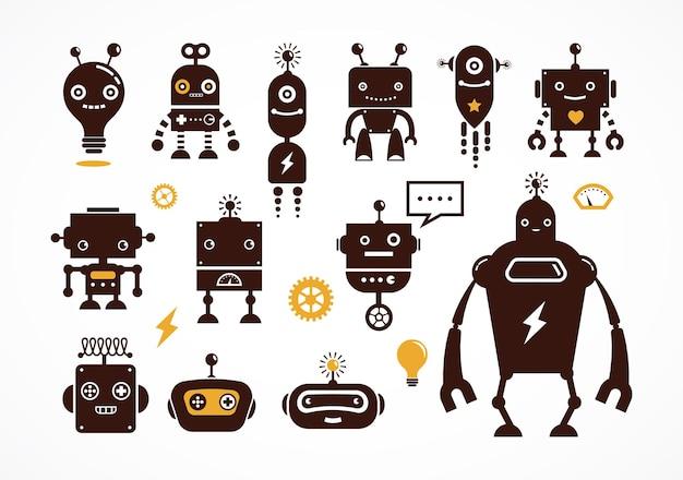로봇 귀여운 아이콘 및 문자