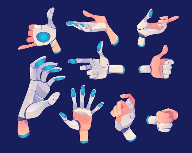 Robot or cyborg hand in different gestures