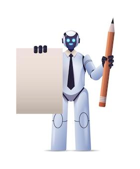 Робот-киборг держит блокнот и карандаш роботизированный персонаж технология искусственного интеллекта